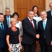 Dejan Židan in Thomas Schmidt z delegacijama