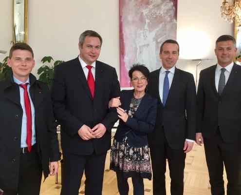 Delegacija SD s Christianom Kernom in poslanko Ano Blatnik